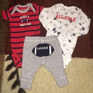 Carter's preemie 3pc football outfit